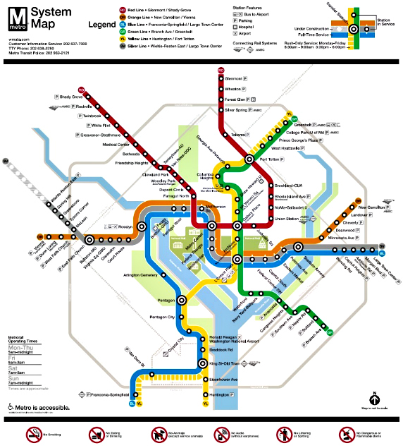 Map of D.C. metro train lines and stations